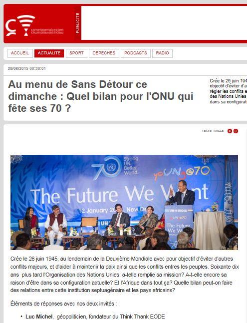 EODE PO - LM sur CAMEROON VOICE onu 70 ans (2015 06 28) FR