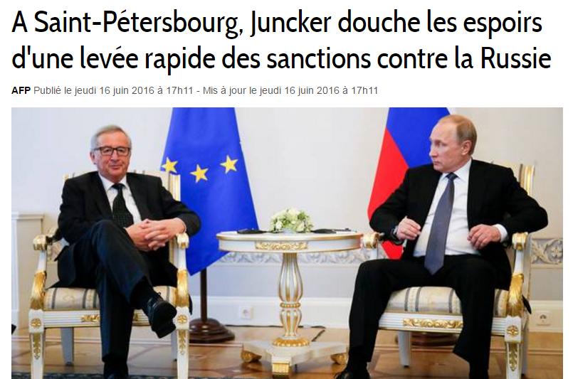 Saint-Pétersbourg -Juncker-sanctions-contre-Russie
